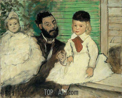 Ludovic Lepic and His Daughters, c.1871 | Degas | Painting Reproduction