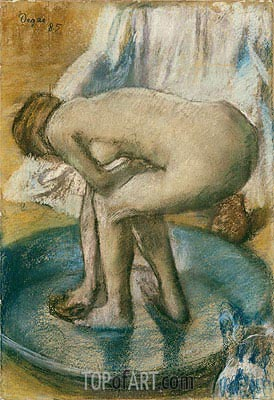 Woman Bathing in a Shallow Tub, 1885 | Degas | Painting Reproduction