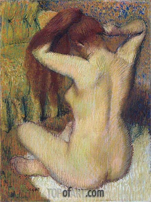 Woman Combing Her Hair, c.1888/90 | Degas | Painting Reproduction