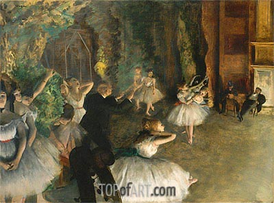 The Rehearsal of the Ballet Onstage, c.1874 | Degas | Gemälde Reproduktion