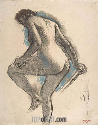 Bather Sponging Her Knee, c.1883/84 | Degas | Painting Reproduction