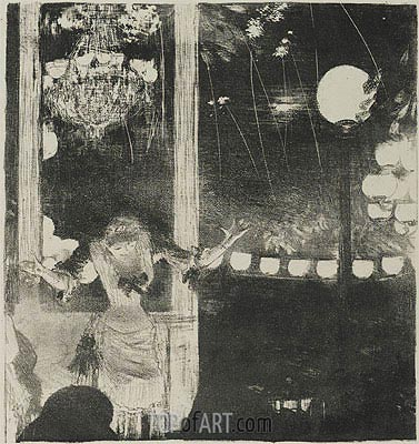 Mlle Becat at the Cafe des Ambassadeurs, c.1877/78   Degas   Painting Reproduction