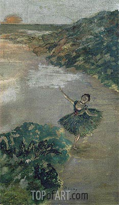 Dancer on stage, c.1879 | Degas | Painting Reproduction
