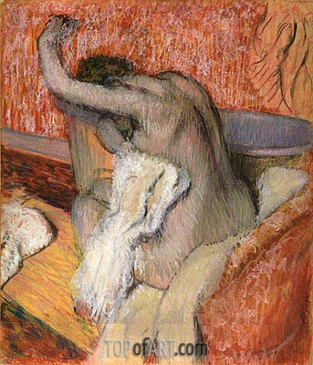 After the bath - woman drying herself, c.1895 | Degas | Painting Reproduction