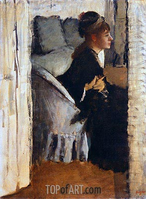 Woman Putting on Gloves, undated | Degas | Painting Reproduction