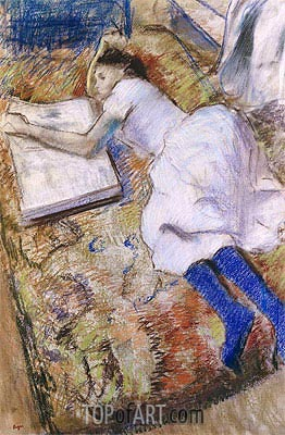 Young Girl Stretched Out Looking at an Album, undated | Degas | Gemälde Reproduktion