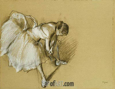 Dancer Adjusting her Shoe, c.1890 | Degas | Gemälde Reproduktion