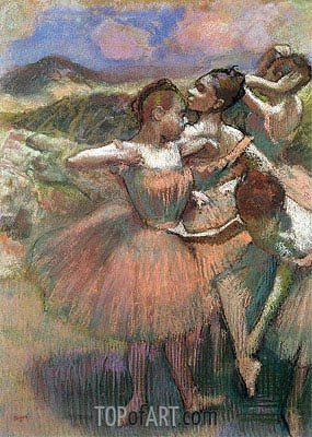 Four Dancers on Stage, undated | Degas | Painting Reproduction