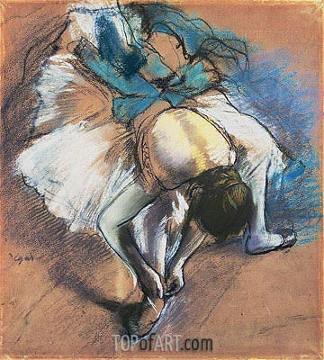 Dancer Fastening her Pump, c.1880/85 | Degas | Painting Reproduction