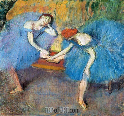 Two Dancers at Rest (Dancers in Blue), c.1898 | Degas | Painting Reproduction