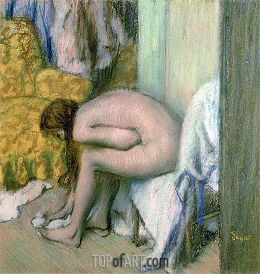 After the Bath, Woman Drying her Left Foot, 1886 | Degas | Gemälde Reproduktion