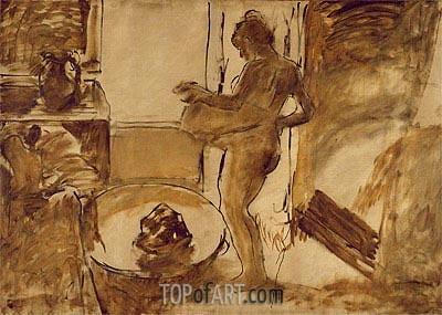 Woman Drying Herself, c.1884/86 | Degas | Painting Reproduction