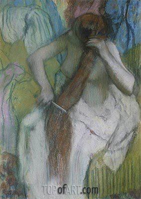 Woman Combing her Hair, c.1887/90 | Degas | Painting Reproduction