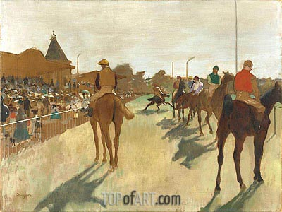 The Parade (Race Horses in Front of the Stands), c.1866/68 | Degas | Painting Reproduction