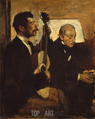 Degas's Father Listening to Lorenzo Pagans Playing the Guitar, c.1869/72 | Degas | Painting Reproduction