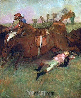 Scene from the Steeplechase: The Fallen Jockey, 1866 | Degas | Painting Reproduction