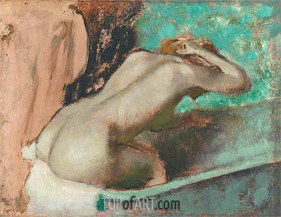 Woman Seated on a Bathtub Sponging Her Neck, c.1880/95 | Degas | Gemälde Reproduktion