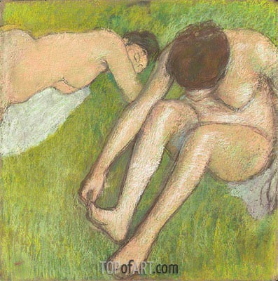 Two Bathers on the Grass, c.1886/90 | Degas | Painting Reproduction
