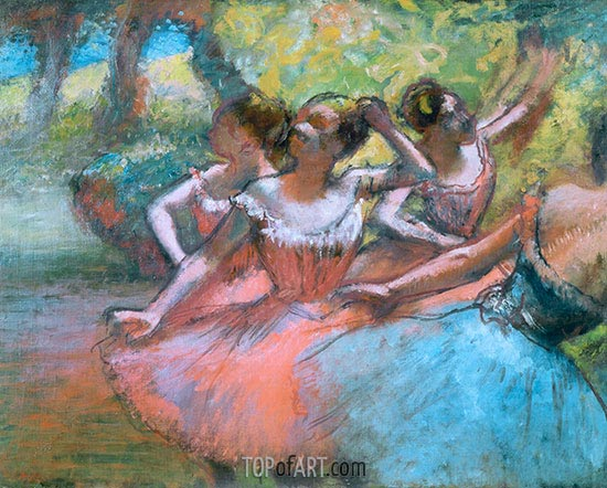 Four Ballerinas on the Stage, c.1885/90 | Degas | Painting Reproduction