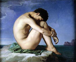 Nude Youth Sitting by the Sea, 1836 by Hippolyte Flandrin | Painting Reproduction