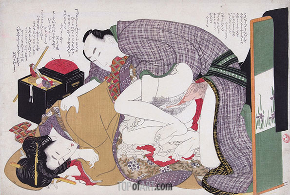 Love Couple at Sewing Box, c.1812/14 | Hokusai | Painting Reproduction