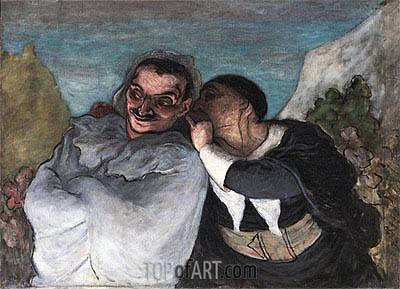 Crispin and Scapin (Scapin and Sylvester), c.1863/65 | Honore Daumier | Gemälde Reproduktion