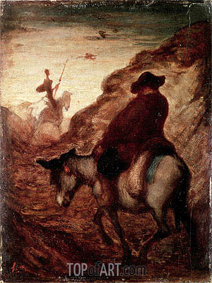 Sancho and Don Quixote, undated | Honore Daumier | Painting Reproduction