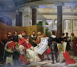 Pope Julius II ordering Bramante, Michelangelo and Raphael to construct the Vatican and St. Peter's, 1827 by Horace Vernet | Painting Reproduction