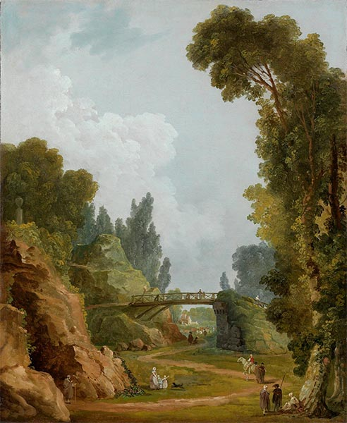 The Rustic Bridge, Chateau de Mereville, France, c.1785 | Hubert Robert | Painting Reproduction