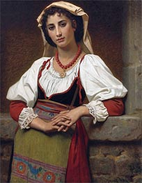 The Neapolitan Girl, 1876 by Hugues Merle | Painting Reproduction