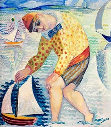 Boy with Sailing Boat, 1918 by Isaac Grünewald | Painting Reproduction