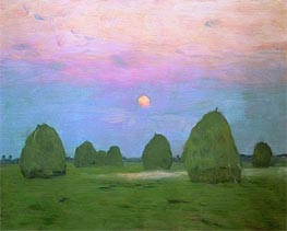 Twilight. Haystacks | Isaac Levitan | Painting Reproduction
