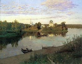 The Evening Bell Tolls, 1892 von Isaac Levitan | Gemälde-Reproduktion