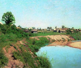 Village on Coast of the River | Isaac Levitan | Painting Reproduction