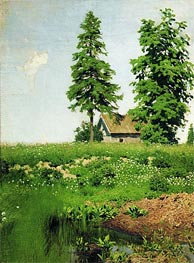 Cottage on a Meadow, c.1880/90 by Isaac Levitan | Painting Reproduction