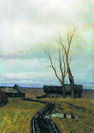 Autumn. Road to Village, 1877 von Isaac Levitan | Gemälde-Reproduktion
