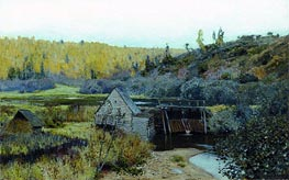 Autumn. Mill. Reach, 1888 von Isaac Levitan | Gemälde-Reproduktion