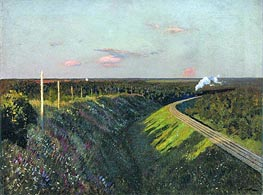 Train in Way, 1890 von Isaac Levitan | Gemälde-Reproduktion