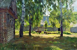 Sunny Day. At a Log Hut, 1898 by Isaac Levitan | Painting Reproduction