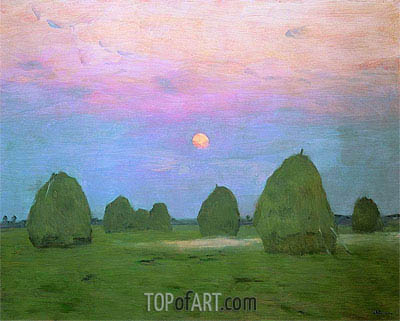 Twilight. Haystacks, 1899 | Isaac Levitan | Painting Reproduction