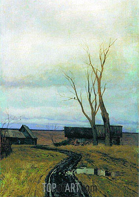 Autumn. Road to Village, 1877 | Isaac Levitan | Gemälde Reproduktion