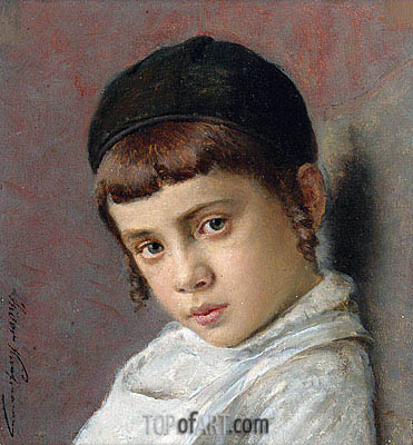 Portrait of a Young Boy with Peyot, Undated | Isidor Kaufmann | Gemälde Reproduktion