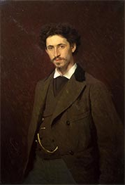 Portrait of the artist Ilya Efimovich Repin, 1876 by Ivan Kramskoy | Painting Reproduction