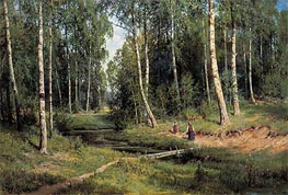 Stream in a Birch Forest, 1883 by Ivan Shishkin | Painting Reproduction