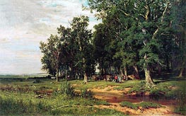 Haymaking in an Oak Grove, 1874 by Ivan Shishkin | Painting Reproduction