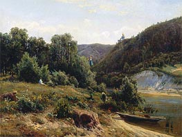 At the Monastery, 1870 by Ivan Shishkin | Painting Reproduction