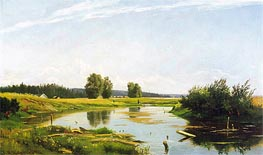 Landscape with a Lake, 1886 by Ivan Shishkin | Painting Reproduction