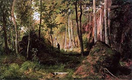 Landscape with a Hunter. The island of Valaam, 1867 by Ivan Shishkin | Painting Reproduction
