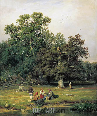 Mushroom Hunting (Gathering Mushrooms), 1870 | Ivan Shishkin | Painting Reproduction