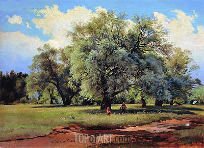 Willows Lit Up by the Sun, c.1860/70 | Ivan Shishkin | Painting Reproduction